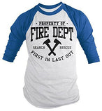Shirts By Sarah Men's Firefighter Property Of Fire Dept 3/4 Sleeve Raglan Shirts-Shirts By Sarah