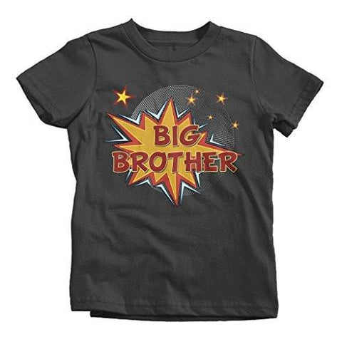 Shirts By Sarah Boy's Big Brother Comic T-Shirt Bubble Stars Fun Shirt-Shirts By Sarah