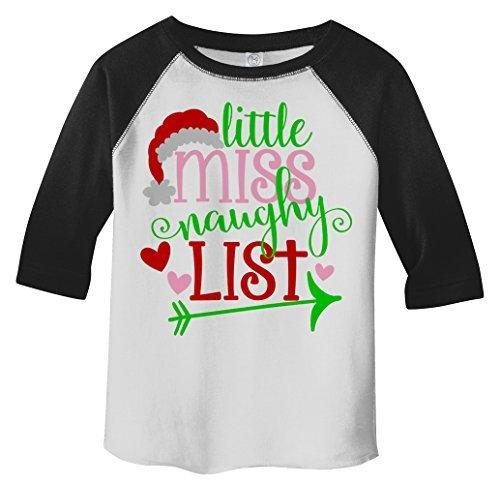 Shirts By Sarah Girl's Little Miss Naughty List Funny Christmas 3/4 Sleeve Baseball Raglan Shirt-Shirts By Sarah