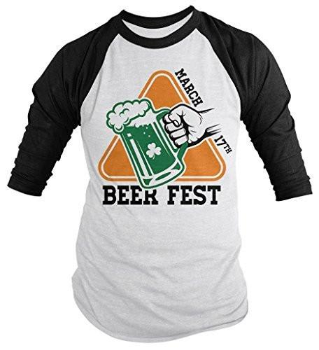 Shirts By Sarah Men's St. Patrick's Day Shirt Beer Fest March 17th 3/4 Sleeve Raglan Shirts-Shirts By Sarah