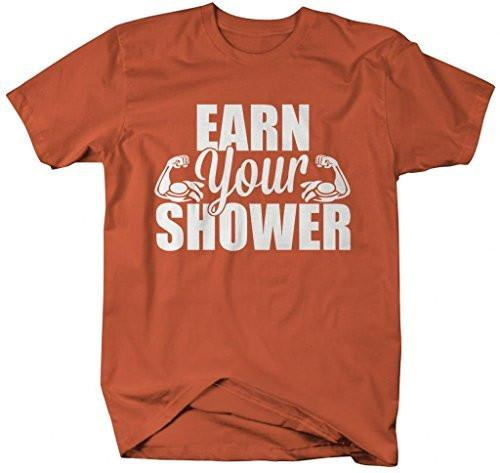 Shirts By Sarah Men's Funny Workout T-Shirt Earn Your Shower Gym Apparel-Shirts By Sarah