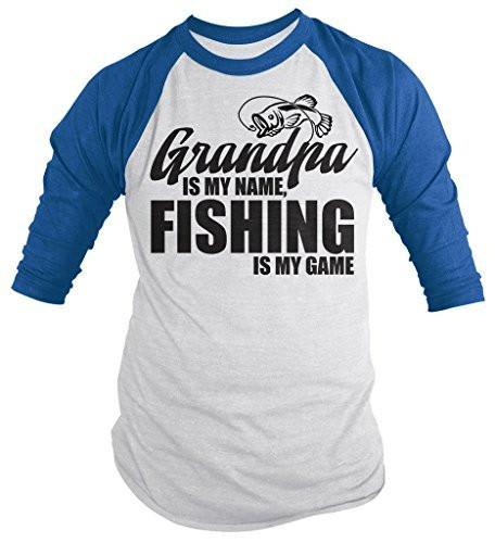 Shirts By Sarah Men's Funny Fishing 3/4 Sleeve Shirt Grandpa Is My Name Fishing Is My Game Raglan-Shirts By Sarah