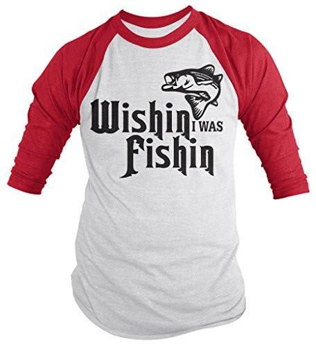 Shirts By Sarah Men's Funny Wishin I Was Fishin Shirt Fishing 3/4 Sleeve Raglan Shirts-Shirts By Sarah