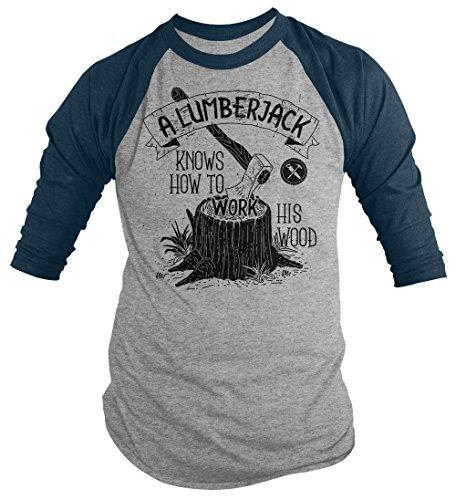 Shirts By Sarah Men's Funny Lumberjack T-Shirt Work His Wood Logging Tee 3/4 Sleeve Raglan-Shirts By Sarah