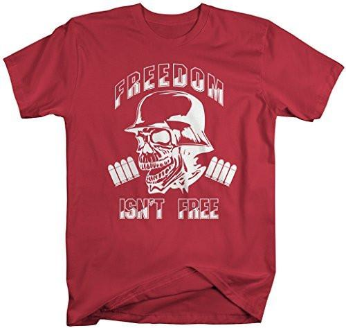 Shirts By Sarah Men's Freedom Isn't Free T-Shirt Skull Military Shirts-Shirts By Sarah