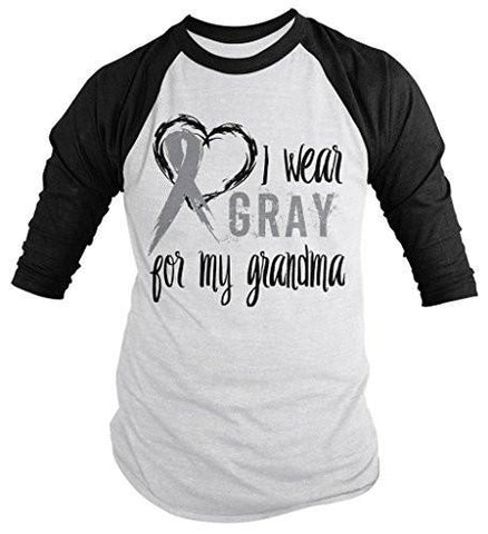 Shirts By Sarah Men's Wear Gray For Grandma 3/4 Sleeve Brain Cancer Asthma Diabetes Awareness Ribbon Shirt - Black/White / XX-Large