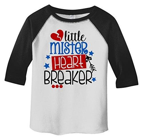 Shirts By Sarah Boy's Toddler Little Mister Mr. Heart Breaker Funny Valentines Day 3/4 Sleeve T-Shirt-Shirts By Sarah