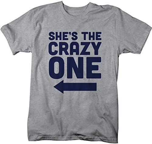 Shirts By Sarah Men's She's Crazy One Best Friend Mix Match Couples T-Shirt (Right)-Shirts By Sarah