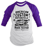 Shirts By Sarah Men's American Custom Motorcycle 3/4 Sleeve Raglan Vintage Biker Shirt-Shirts By Sarah