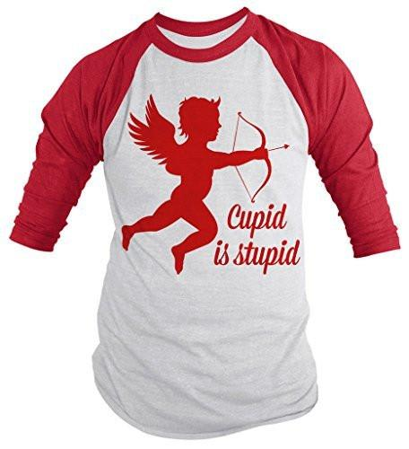 Shirts By Sarah Unisex Funny Valentine's Day 3/4 Sleeve Raglan Cupid Is Stupid Shirts-Shirts By Sarah
