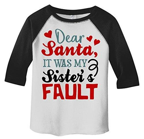 Shirts By Sarah Toddler Dear Santa Sister's Fault 3/4 Sleeve Raglan T-Shirt-Shirts By Sarah