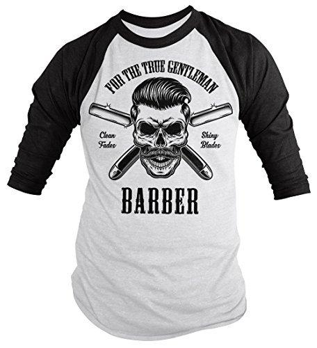 Shirts By Sarah Men's Barber Skull T-Shirt Barbers 3/4 Sleeve Raglan Shiny Blades-Shirts By Sarah