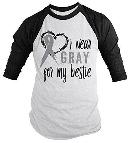 Shirts By Sarah Men's Wear Gray For Bestie 3/4 Sleeve Brain Cancer Asthma Diabetes Awareness Ribbon Shirt - Black/White / XX-Large
