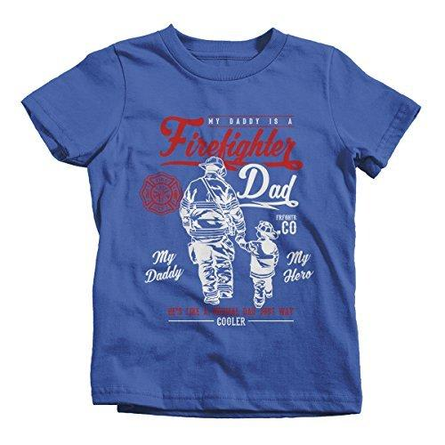 Shirts By Sarah Boy's Daddy Is Firefighter T-Shirt My Hero Much Cooler Shirt-Shirts By Sarah