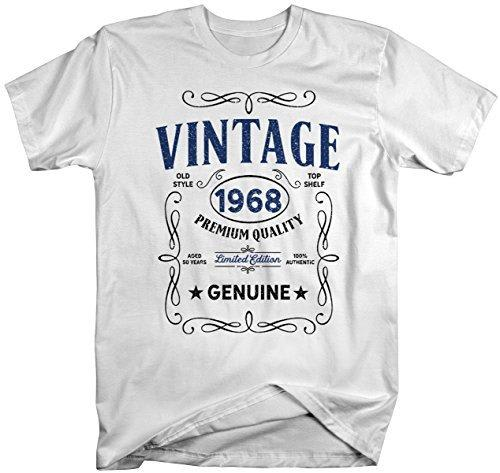 Shirts By Sarah Men's Vintage 1968 50th Birthday T-Shirt Classic Fifty Gift Idea-Shirts By Sarah