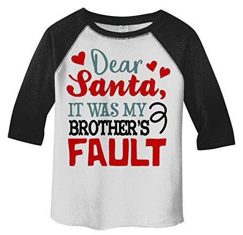 Shirts By Sarah Toddler Dear Santa Brother's Fault 3/4 Sleeve Raglan T-Shirt-Shirts By Sarah