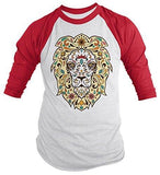 Shirts By Sarah Men's Lion Sugar Skull T-Shirt 3/4 Sleeve Hipster Shirts - Red/White / XX-Large - 6