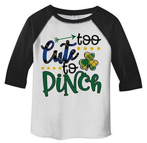 Shirts By Sarah Boy's Toddler Boy's Funny ST. Patrick's Day T-Shirt Too Cute To Pinch 3/4 Sleeve Raglan-Shirts By Sarah