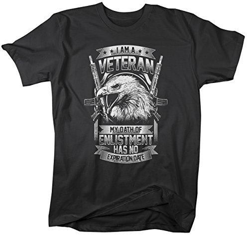 Shirts By Sarah Men's Patriotic Veteran's T-Shirt Oath Of Enlistment Has No Expiration Tee-Shirts By Sarah