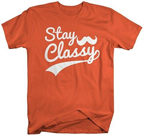 Shirts By Sarah Men's Hipster Stay Classy T-Shirt Mustache Shirts-Shirts By Sarah