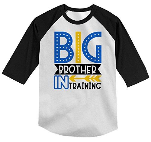 Shirts By Sarah Boy's Toddler Big Brother in Training T-Shirt Promoted Shirt Baby 3/4 Sleeve Raglan-Shirts By Sarah