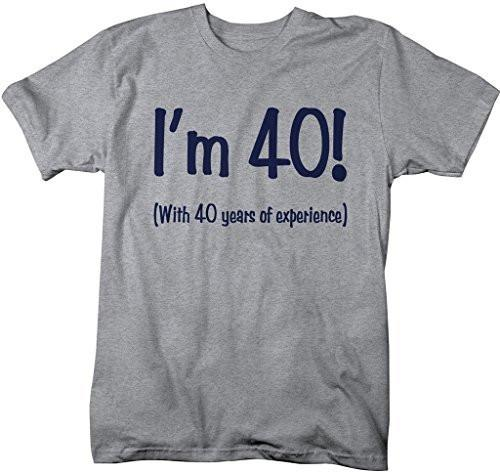 Shirts By Sarah Men's Funny 80th Birthday T-Shirt 40 With 40 Years Experience Shirt-Shirts By Sarah