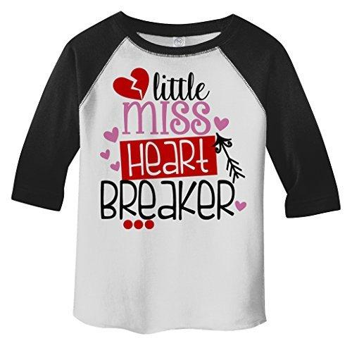 Shirts By Sarah Girl's Toddler Little Miss Heart Breaker Funny Valentines Day 3/4 Sleeve T-Shirt-Shirts By Sarah