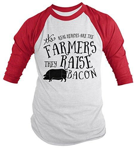 Shirts By Sarah Men's Hilarious Bacon T-Shirt Funny Farmers Real Heroes 3/4 Sleeve Raglan Shirt-Shirts By Sarah