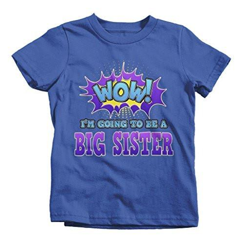 Shirts By Sarah Girl's Wow I'm Going To Be Big Sister T-Shirt New Baby Reveal-Shirts By Sarah
