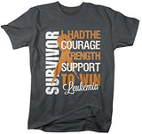 Shirts By Sarah Men's Leukemia Survivor T-Shirt Orange Ribbon Shirt - Dark Heather / XX-Large - 3