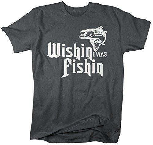 Shirts By Sarah Men's Funny Wishin I Was Fishin T-Shirt Fishing Shirts-Shirts By Sarah