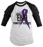 Shirts By Sarah Men's End Domestic Violence Purple Ribbon Shirt 3/4 Sleeve Raglan Shirts-Shirts By Sarah