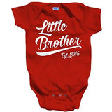 Shirts By Sarah Baby Boy's Little Brother Est. 2016 One Piece Bodysuit - Red / 12 Months - 5