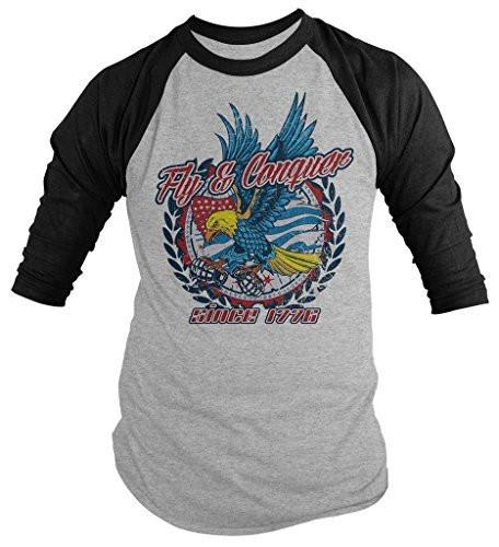 Shirts By Sarah Men's Patriotic Fly Conquer Eagle 3/4 Sleeve Raglan Shirt 4th July America-Shirts By Sarah