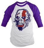 Shirts By Sarah Men's Angry Ape T-Shirt 3/4 Sleeve Shirts - Purple/white / XX-Large - 4
