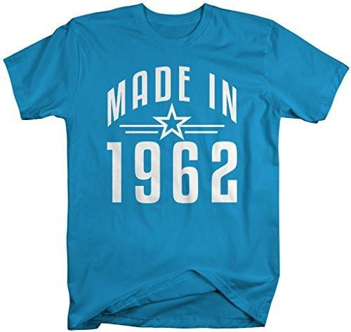 Shirts By Sarah Men's Made In 1962 Birthday T-Shirt Retro Star Custom Shirts-Shirts By Sarah