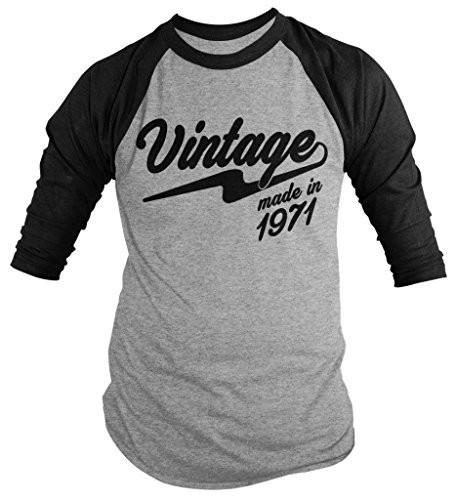 Shirts By Sarah Men's Vintage Made In 1971 Birthday Raglan Retro 3/4 Sleeve Shirts-Shirts By Sarah