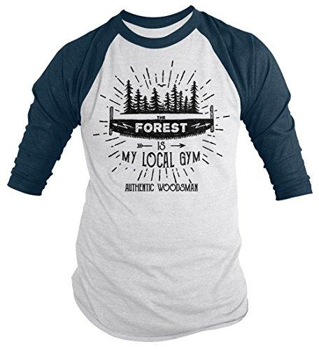 Men's Funny Lumberjack T-Shirt The Forest Local Gym Woodsman Tee 3/4 Sleeve Raglan-Shirts By Sarah