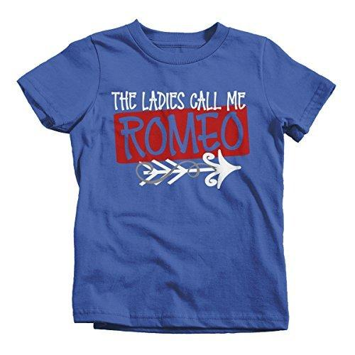 Shirts By Sarah Boy's Ladies Call Me Romeo Funny Valentines Day T-Shirt-Shirts By Sarah