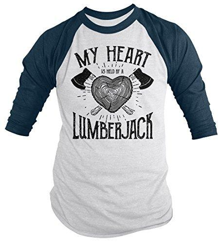 Shirts By Sarah Men's Lumberjack T-Shirt My Heart Held by Tee Woodsman 3/4 Sleeve Raglan-Shirts By Sarah