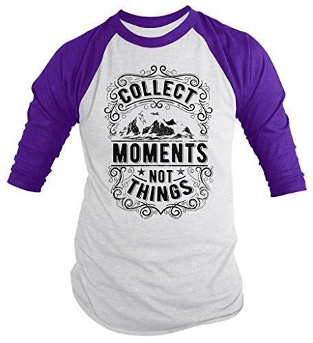 Shirts By Sarah Men's Inspirational Hipster Collect Moments Not Things 3/4 Sleeve Raglan Shirt-Shirts By Sarah