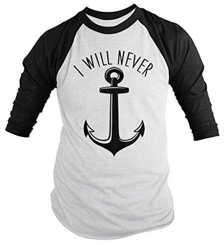 Shirts By Sarah Men's Best Friends Couples Shirts I Will Never Let You Sink (I Will Never Half) Raglan - Black/White / XX-Large - 2