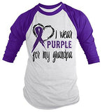 Shirts By Sarah Men's Purple Ribbon Shirt Wear For Grandpa 3/4 Sleeve Raglan Awareness Shirts - Purple/white / XX-Large - 2