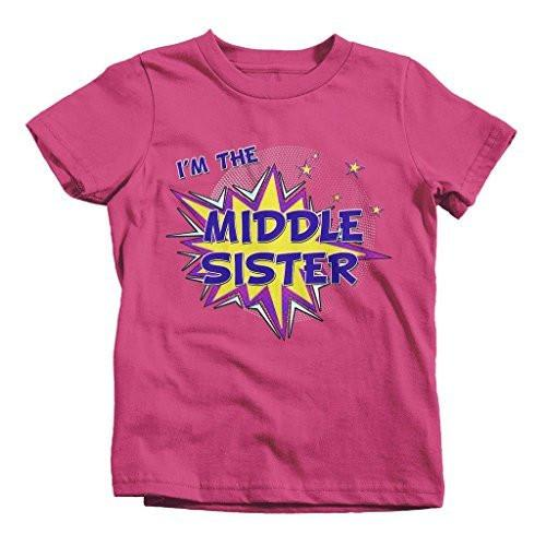 Shirts By Sarah Girl's I'm The Middle Sister T-Shirt Comic Superhero Shirt-Shirts By Sarah