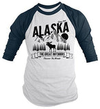 Shirts By Sarah Men's Alaska 3/4 Sleeve T-Shirt Great Outdoors Moose Camping Adventure Raglan-Shirts By Sarah