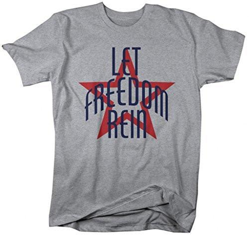 Shirts By Sarah Men's Patriotic 4th July T-Shirt Let Freedom Rain Star Shirts-Shirts By Sarah