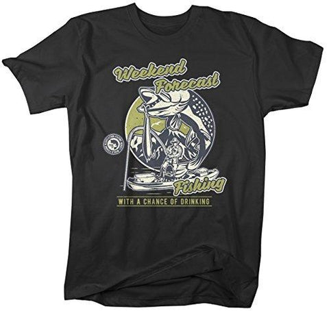 Men's Funny Weekend Forecast T-Shirt Fishing Drinking Vintage Shirt-Shirts By Sarah
