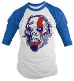 Shirts By Sarah Men's Angry Ape T-Shirt 3/4 Sleeve Shirts - Royal/White / XX-Large - 5