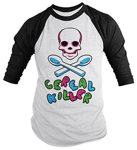 Shirts By Sarah Men's Funny Cereal Killer Shirt Hilarious 3/4 Sleeve Raglan Skull Shirts-Shirts By Sarah