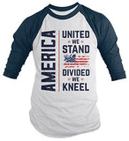 Shirts By Sarah Men's America Kneel T-Shirt United We Stand Divided Shirt Flag Tee Shirt 3/4 Sleeve Raglan-Shirts By Sarah